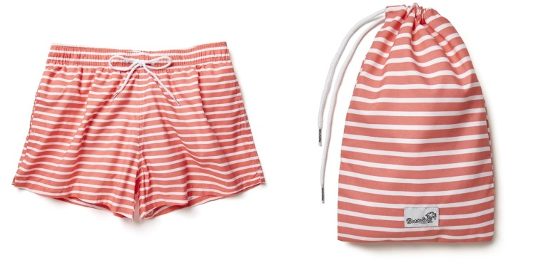 BOARDIES New Brighton Red Stripe Shortie Shorts, £50, boardiesapparel.com