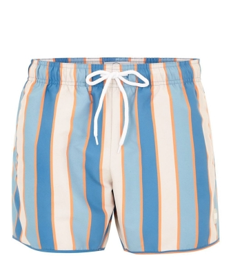 Tonal Blue and Orange Stripe Swim Shorts, £18, topman.com