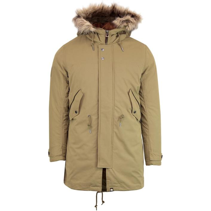prettygreen-fur-hooded-jacet-khaki-front
