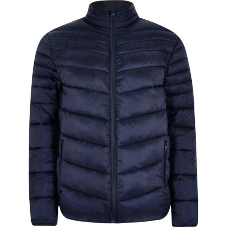 Navy zip front funnel neck puffer jacket River Island
