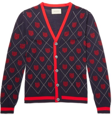 Slim-Fit Webbing-Trimmed Wool-Jacquard Cardigan Gucci