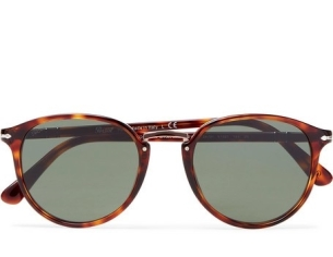 Persol Round-Frame Tortoiseshell Acetate and Rose Gold-Tone Sunglasses