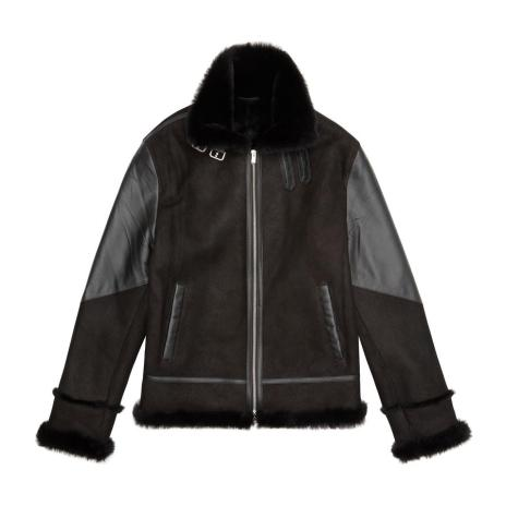 Black Shearling Jacket by Prevu