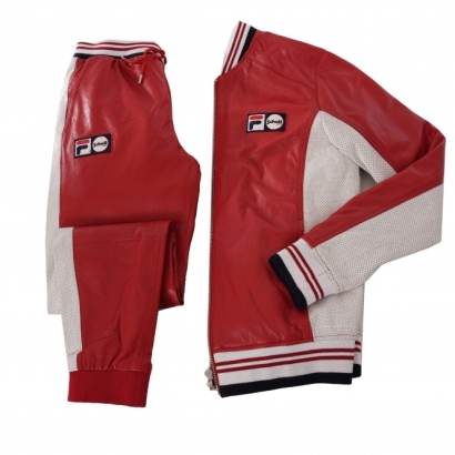 Fila X Schott NYC Luigi Leather Tracksuit Top Pants Red