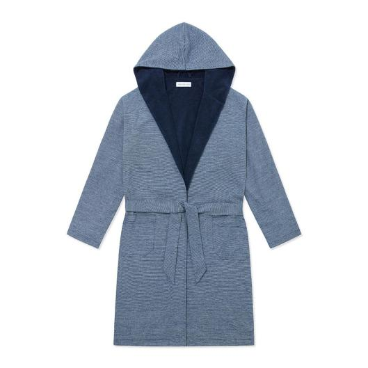 Hamilton and Hare Towelling Robe - Navy Stripe